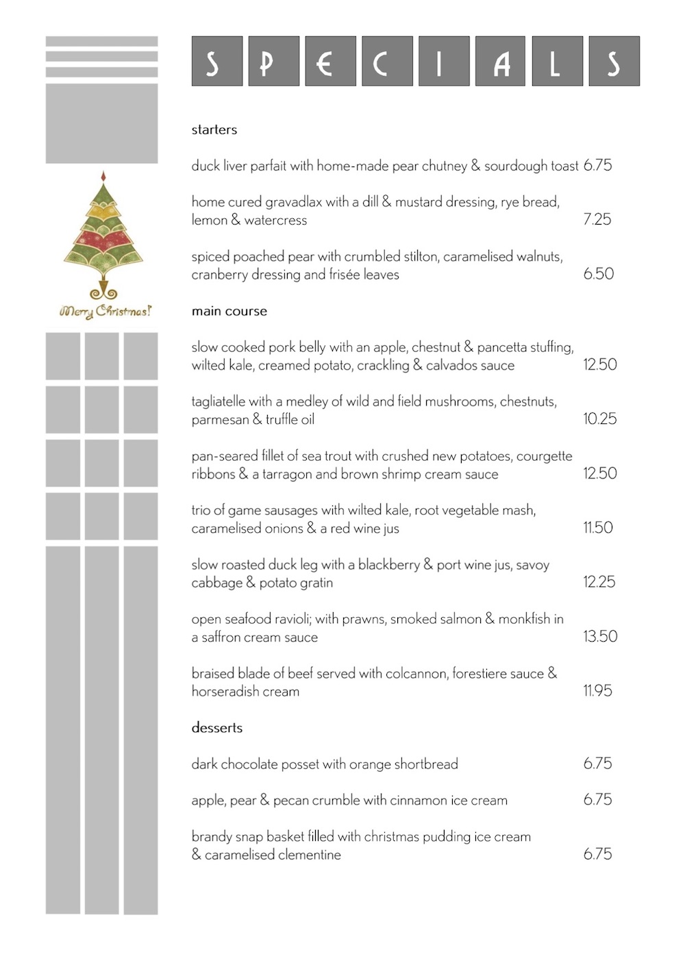 Blinis cafe-bar Sidmouth xmas menu